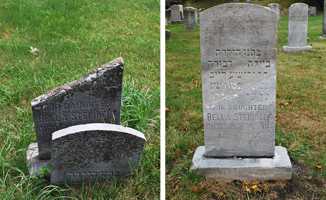 Headstone repair before and after... Bella Steinberg
