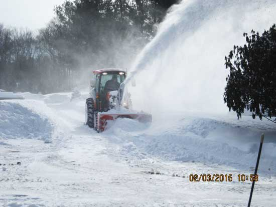 Snowblower during hard winter of 2015