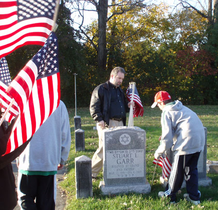 Installing flag as part of Jewish War Veterans Flag Project